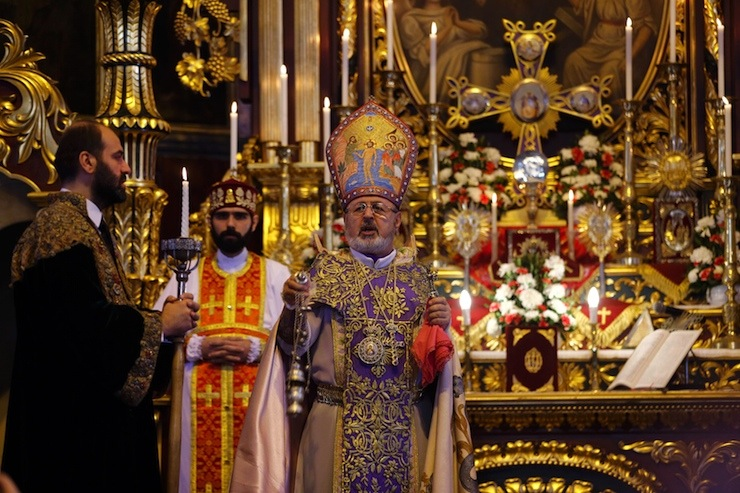 Archbishop Ateshian, General Vicar of the Armenian Patriarch in Turkey, holds a mass at Surp Asdvadzadzin Patriarchal Church in Istanbul